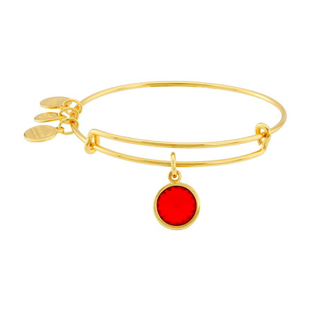 Women's Crystal Birthstone July Ruby Yellow Gold Cubic-Zirconia Charm Bracelet - 8 14k Crystal Charm Bracelet