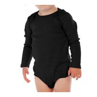 Kavio I1C0268 Infants Lap Shoulder Long Sleeve Onesie-Black-18M