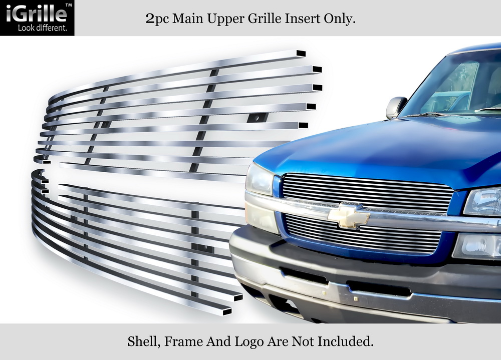 Fits 2003-2005 Chevy Silverado 1500 Stainless Black Billet Grille Combo