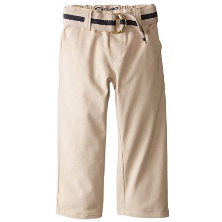 Eddie Bauer Boys School Uniform Flat Front Brushed Twill Straight Leg Pant with Web Belt (Little Boys & Big Boys) (Eddie Bauer Pants)