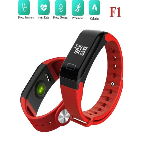 F1 Black Blood Pressure Oxygen Smart Band Heart Rate Bluetooth Bracelet  Watch for Android IOS Smart Phone