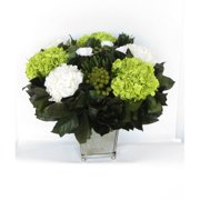 Bougainvillea Square Antique Mirror Glass Container Stand with Roses, Brunia and Hydrangea