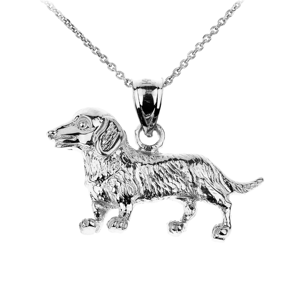 Claddagh Gold White Gold Dachshund Dog Pendant Necklace