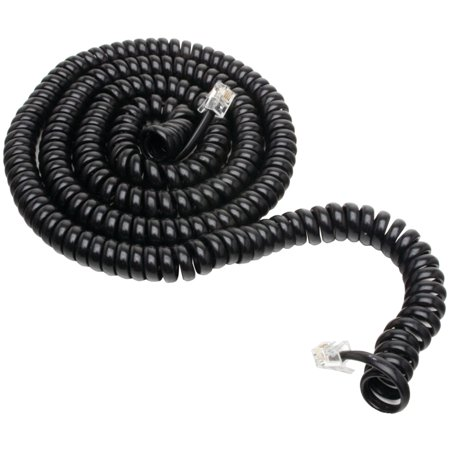 Power Gear 25ft. Coil Telephone Cord, Black, 76139999