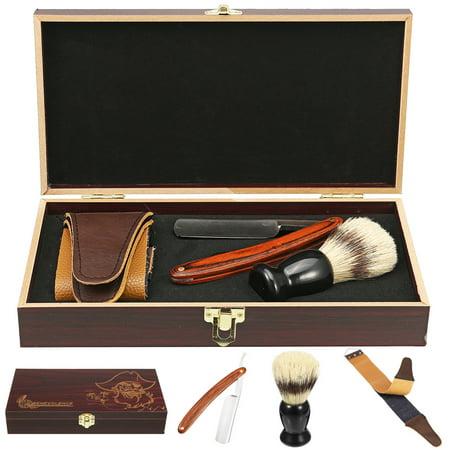 440 Steel Straight Razors Brush Strop Cut Shaving Strop Throat Wooden Box Kits