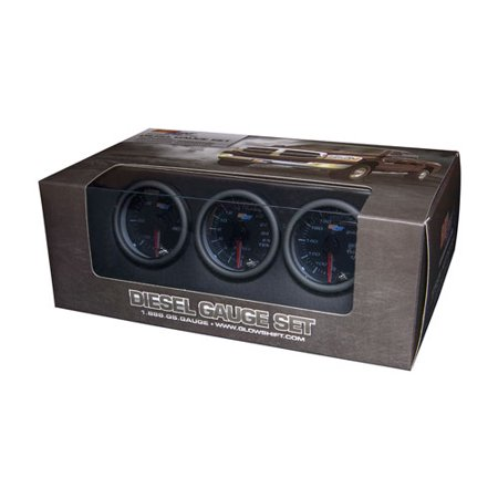 GlowShift Tinted 7 Color Diesel Gauge Set - 60psi Boost, 2400 Pyrometer EGT & Trans Temp
