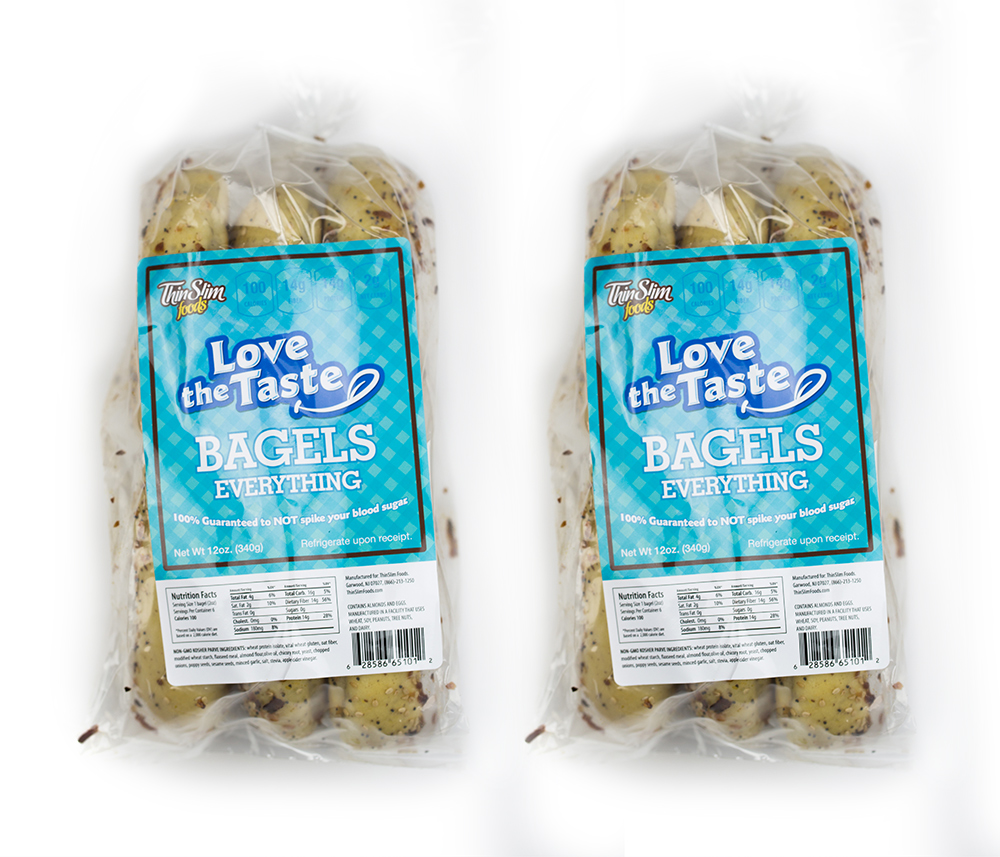 ThinSlim Foods Love-the-Taste Low Carb Bagels Everything, 2pack by ThinSlim Foods