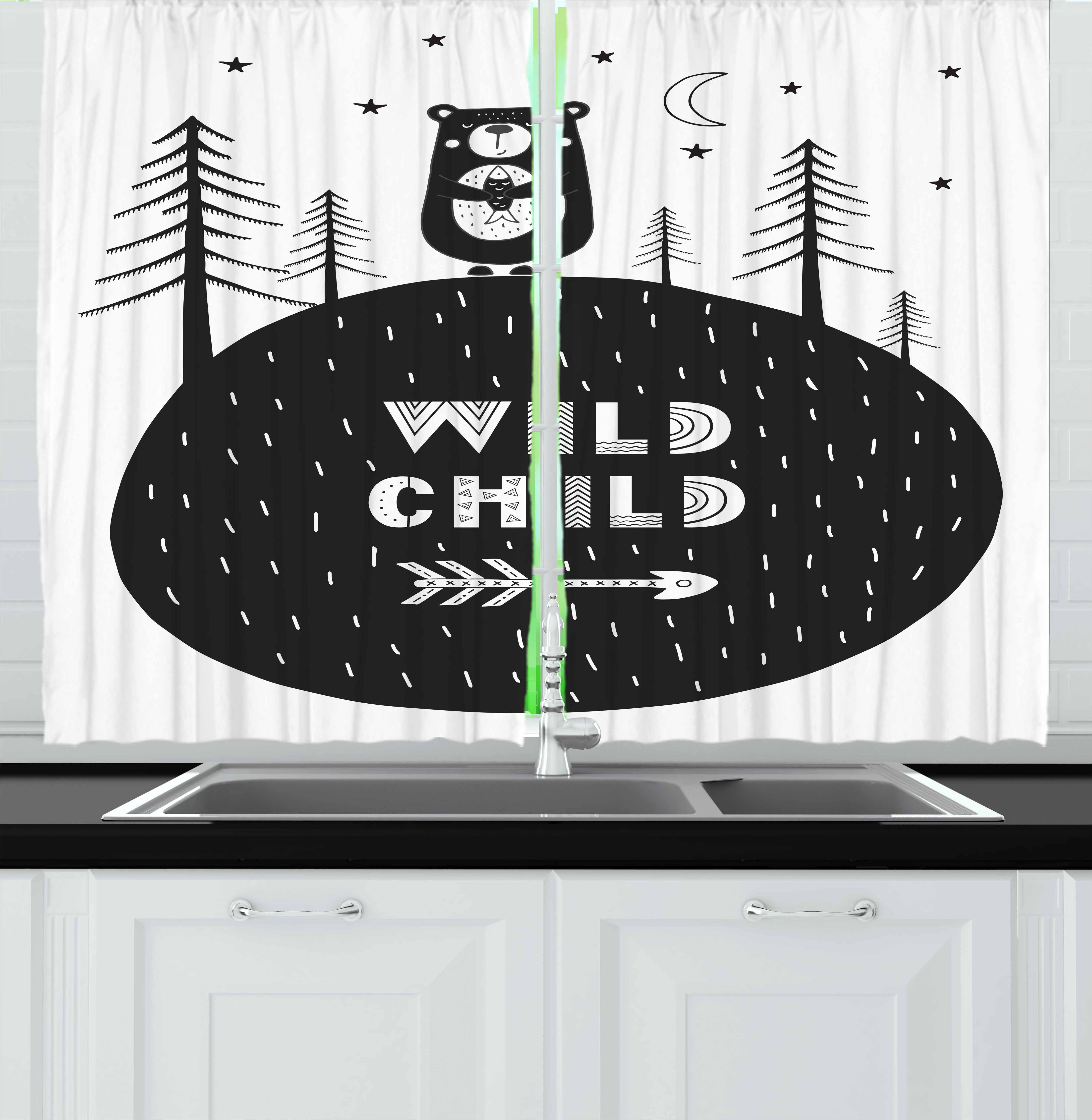 Black and White Curtains 2 Panels Set, Hand Drawn Bear Holding a Fish with a Smile in Forest Wild Child Quote, Window Drapes for Living Room Bedroom, 55W X 39L Inches, Black and White, by Ambesonne