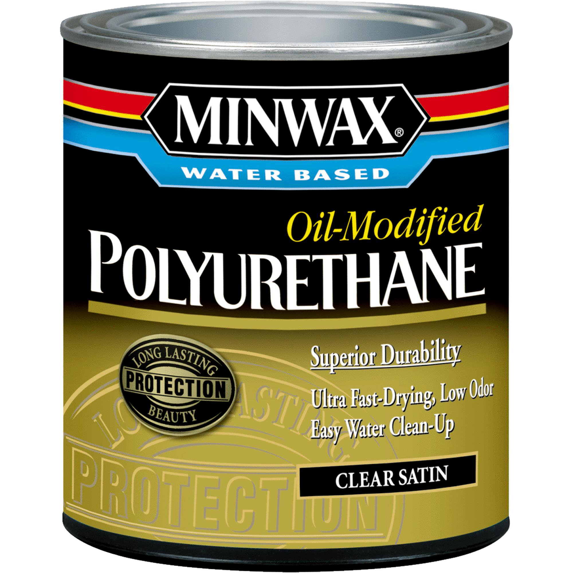 Minwax Water Based Oil-Modified Polyurethane Quart Clear Satin