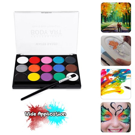 Face Paint Kit Professional Water Based Body Paint 15 Colors Washable Non-Toxic Paints 1 Paintbrush for Kid Sensitive Skin Costume Makeup Party Supplies - image 2 of 5