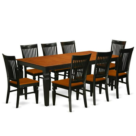 kitchen table set with a dining table 8 wood seat dining chairs 9 piece black cherry. Black Bedroom Furniture Sets. Home Design Ideas