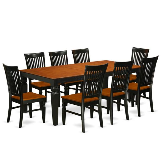 Kitchen Table Set with a Dining Table & 8 Wood Seat Dining Chairs&