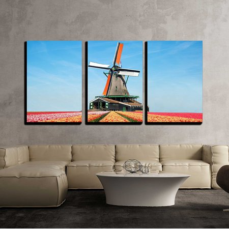 wall26 - 3 Piece Canvas Wall Art - Landscape of Tulips and Windmills in the Netherlands. - Modern Home Decor Stretched and Framed Ready to Hang - 24