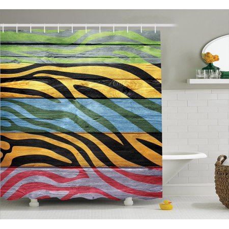 Zebra Print Decor Shower Curtain Set Colorful On Hardwood Timber Creative Contemporary Artwork