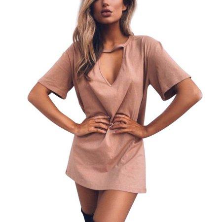 EFINNY Women's Cotton Cut Out Short Sleeve Shirt Dress](Cut Out Dres)