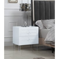 Chic Home Lucca Nightstand Side Table with 2 Self Closing Drawers Lacquer Acrylic Knob Legs, Modern Contemporary, Grey