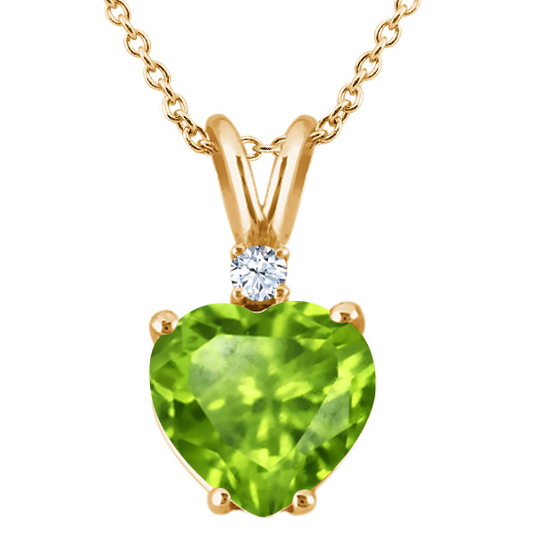 1.58 Ct Green Peridot White Topaz 18K Yellow Gold Plated Silver Pendant