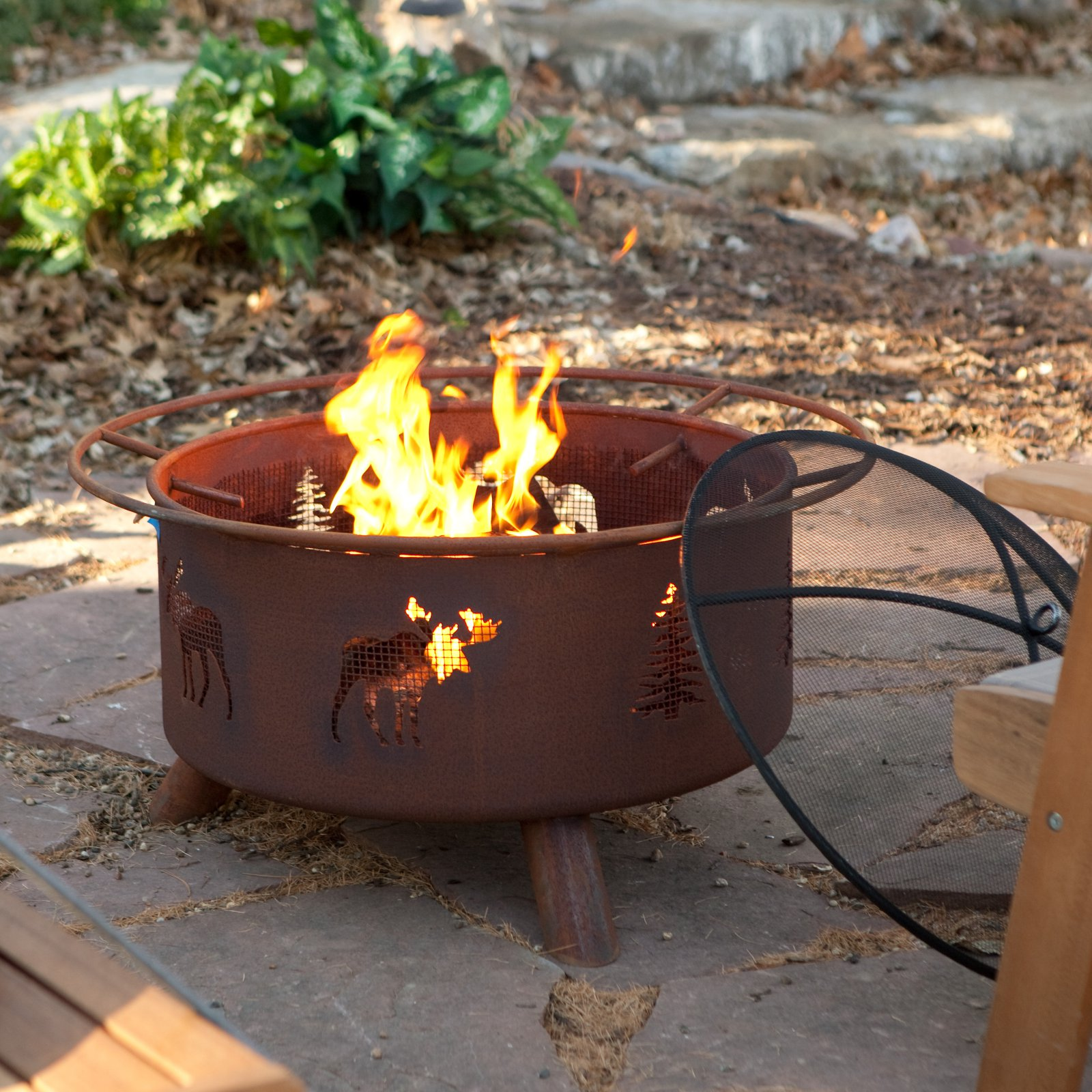 Patina Moose and Tree 31-Inch Fire Pit with FREE Cover