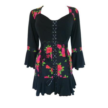 Black Dahlia Halloween (Dare To Wear Victorian Gothic Boho Women's Cabaret Corset Top S -)