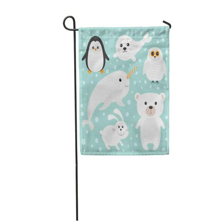 Polar Bears And Penguins (SIDONKU Arctic Polar White Bear Owl Penguin Seal Pup Baby Harp Hare Rabbit Garden Flag Decorative Flag House Banner 12x18)