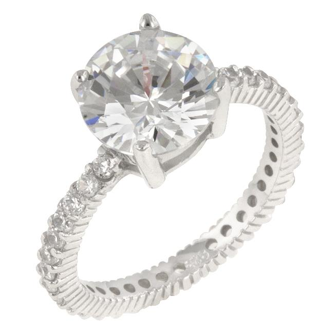 Kate Bissett R07218RS-C01-10 Genuine Rhodium Plated to . 925 Sterling Silver Classic Engagement Style with a Pave CZ Band