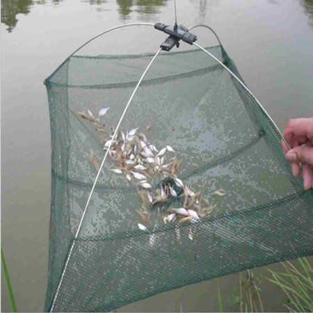 24''x24'' Umbrella Mesh Trap Crab Shrimp Minnows Cast Dip Net Bait Cast Lures Fishing Net Cage for Fishermen ()