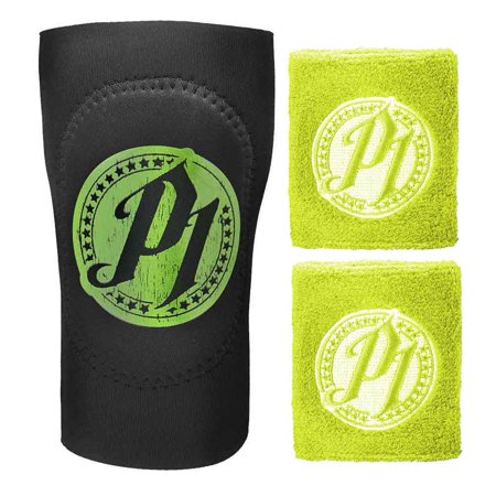 Official WWE Authentic AJ Styles Green Wristband and Elbow Pad 3 Piece Set - Wwe Wristbands