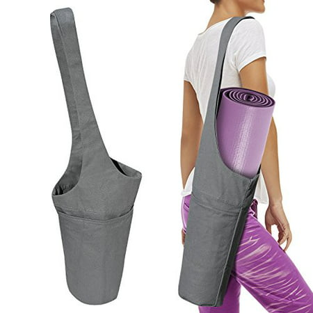 popular style great discount sale closer at Sunrise Yoga Mat Bag, Cotton Yoga Mat Carrier W/Large Side Pocket and  Zipper Packet, Gray