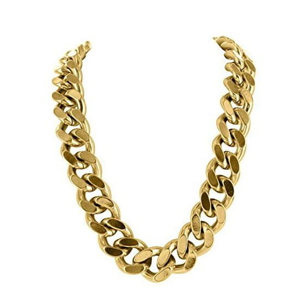 400 GM Mens Miami Cuban Chain With 14k Yellow Gold Finish For Sale