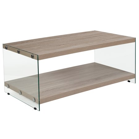 Glass Natural Wood Table - Flash Furniture Weston Collection Natural Wood Grain Finish Coffee Table with Glass Frame and Shelves