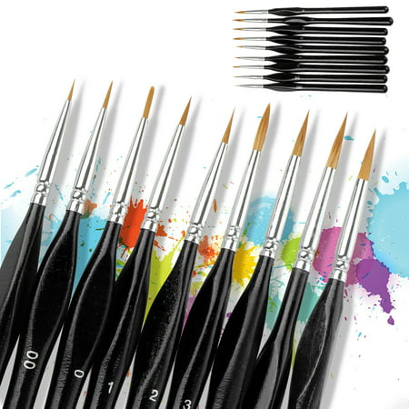 Detail Paint Brush Set - 9 Small Enamel Miniature Brushes for Fine Detailing & Art Painting - Acrylic, Watercolor, Gouache, Oil - Model, Face, Airplane Kits, Warhammer 40k, Rock Painting Cold Water Acrylic