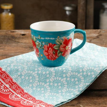 The Pioneer Woman Vintage Floral Teal 16-Ounce Mug ...