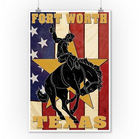 Fort Worth, Texas - Cowboy & Bucking Bronco - Lantern Press Artwork (9x12 Art Print, Wall Decor Travel Poster)](Electric Cowboy Fort Worth Halloween)