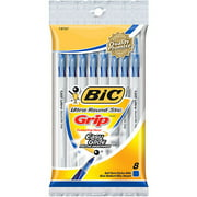 Bic Ultra Round Stic Grip Ball Pens Medium Point 8/Pkg-Blue