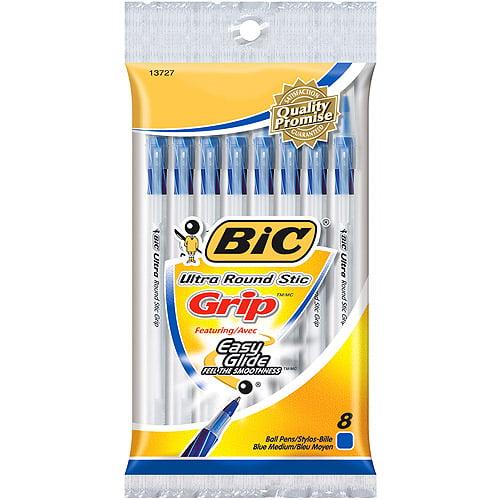 Bic Ultra Round Stic Grip Ball Pens Medium Point 8/Pkg-Blue