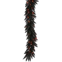 Pre-Lit Fir Garland with 250 Orange Mini Lights, 9-Feet, Black