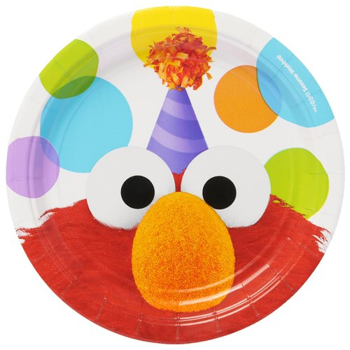 "Elmo 7"" Round Plate, 8 Count, Party Supplies"