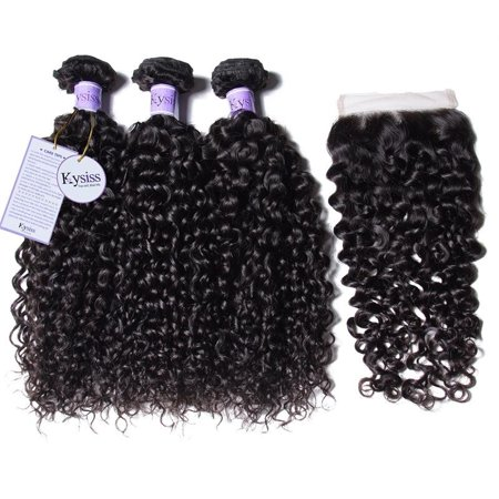 UNice Hair Kysiss Indian Kinky Curly Human Hair 3 Bundles with Lace Closure Free Part Virgin Hair Weave, 20