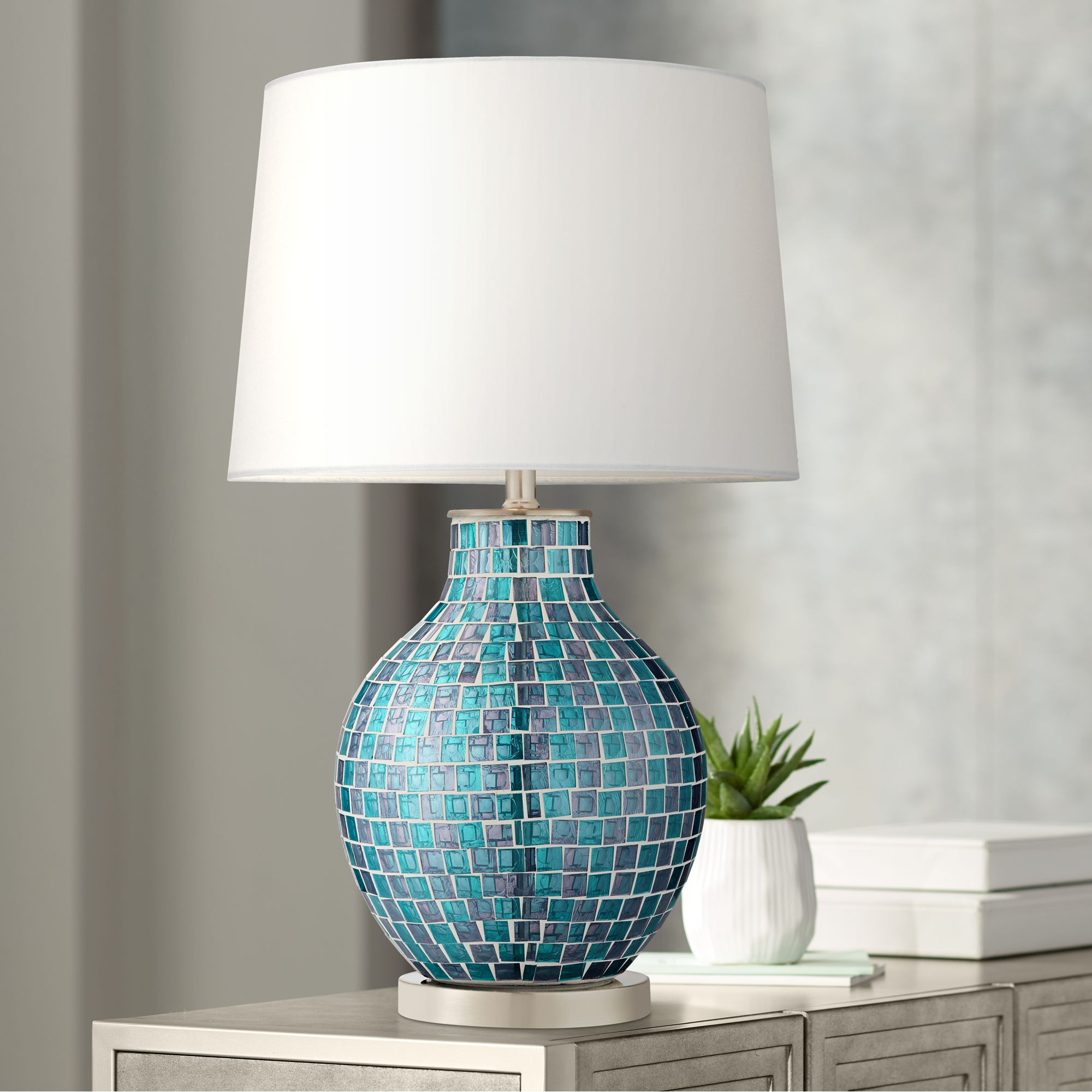 360 lighting modern table lamp mosaic teal tiles glass jar shaped white drum shade for living room family bedroom bedside walmart com