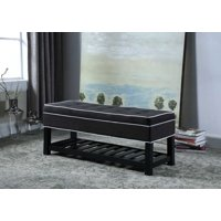 """17.5"""" in CHARCOAL GRAY W/ WHITE PIPING TUFTED STORAGE SHOE BENCH"""