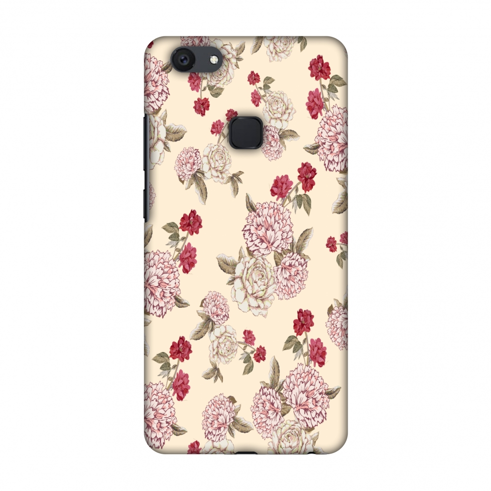 Vivo Y79 Case - Dahlia and rose- Cream, Hard Plastic Back Cover, Slim Profile Cute Printed Designer Snap on Case with Screen Cleaning Kit