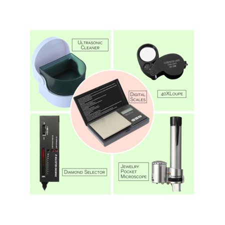 (Jewelry Tool Set Digital Scales / LED Audio Diamond Gemstone Tester Selector / Ultrasonic Cleaner / LED Jeweler Loupe Magnifier 40X / 100X Jewelry Pocket Microscope Loupe Magnifier)