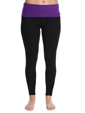 Blis Women Yoga Workout Legging Pant with Foldover Color Waistband Standard Plus and Maternity Purple Size Medium