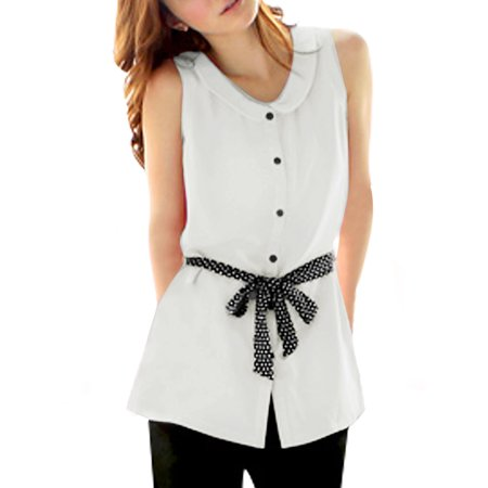 Peter Pan Collar Sash-waist Single Breasted Blouse for Women