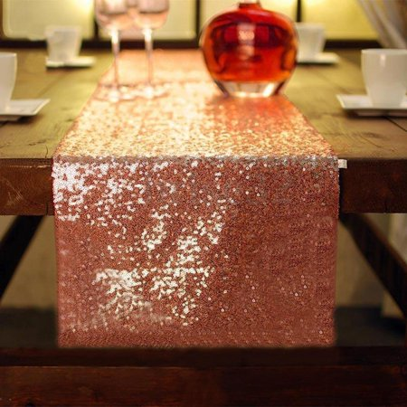 10Pcs Rose Gold Sequin Table Runners, Sparkly Table Cloth Fabric Tablecloth for Wedding Birthday Party Christmas Thanksgiving Baby Shower Banquet Event Dining Room Decor, 12