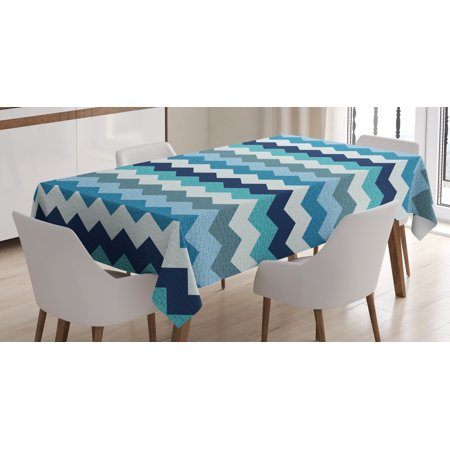 Aqua Tablecloth, Retro Vintage Chevron Geometrical Zig Zag Stripes, Rectangular Table Cover for Dining Room Kitchen, 60 X 84 Inches, Turquoise Light Blue Navy Blue and Seafoam, by Ambesonne