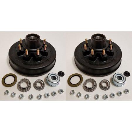 2-Pk 12 in. x 2 Trailer Brake Hub Drum Kit w/Bearings Seal Cap Lugs (8 on 6.5)