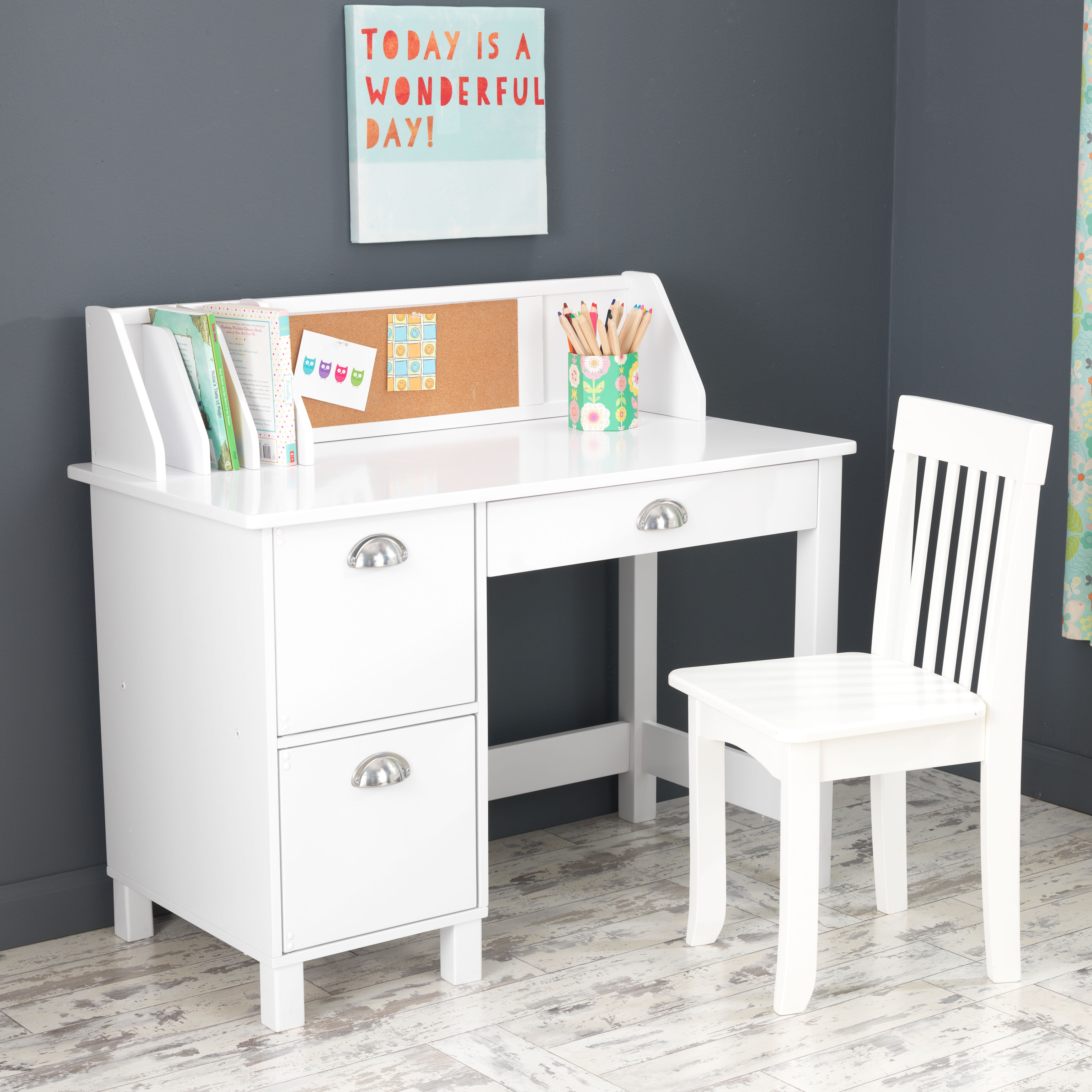 Avalon Desk With Hutch And Chair White Hostgarcia