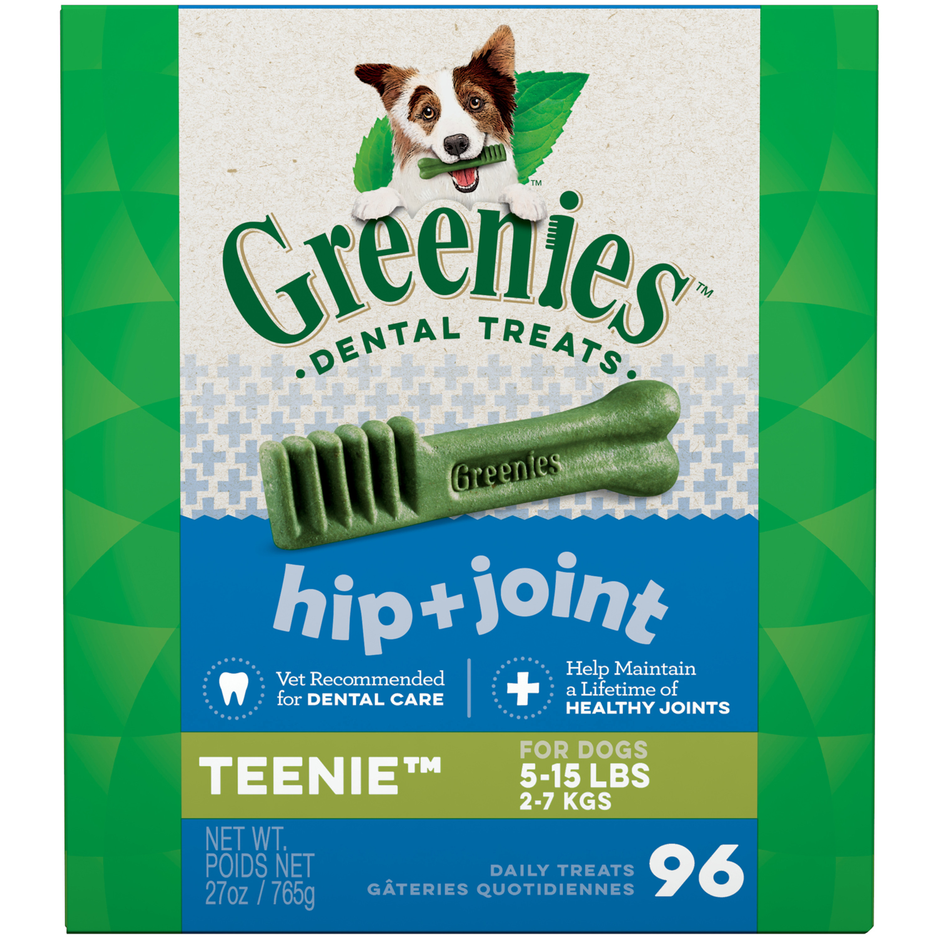GREENIES Hip and Joint TEENIE Dental Dog Treats, 27 oz. Pack (96 Treats)
