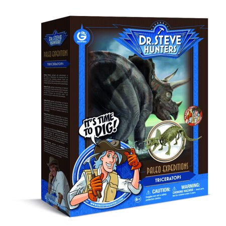 Dr. Steve Hunters - Paleo Expedition Dino Dig Excavation Kit - Triceratops - 12 pieces - Uncle Milton Scientific Educational - Dino Excavation Kit